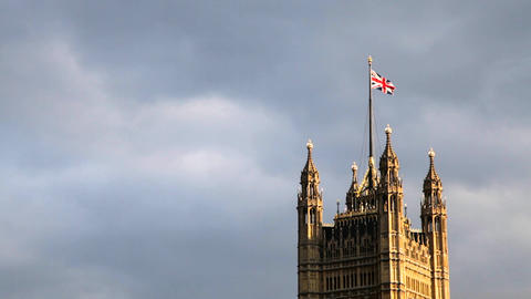 The Union Jack, Palace Of Westminster, London, United Kingdom stock footage