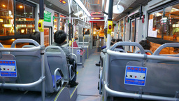Public Bus On Night Street, Interior And 'stop' Buttons On Handrails stock footage