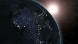 Earth (Highend) Sunrise Over North America CGI HD stock footage