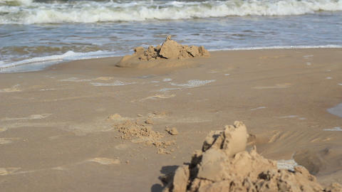 Sand Castles In Focus stock footage