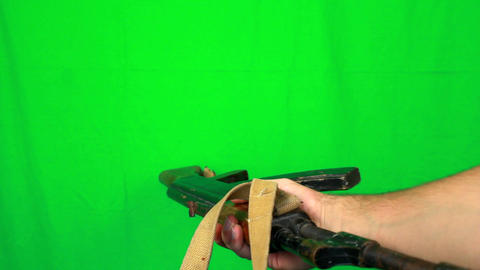 Giving Ak47 Handle stock footage