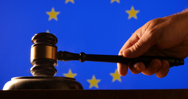 Judge calling order with hammer and gavel in EU court with flag background Footage