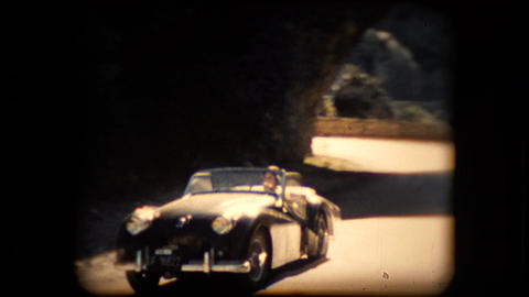 Footage Of A TR2 Triumph Roadster Sports Car stock footage