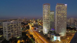 Tel Aviv, Israel - Central Tel Aviv Time-lapse Day To Night stock footage