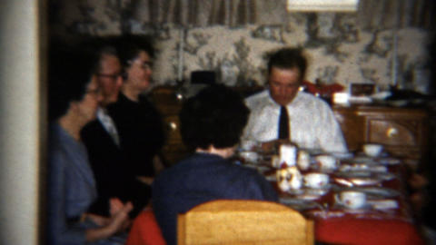 1957: Family Saying Grace Before A Meal To Feel Thankful For Food stock footage