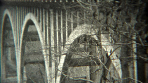 1936: New Bridge Style Inspection From Top Deck Down To Foundations stock footage