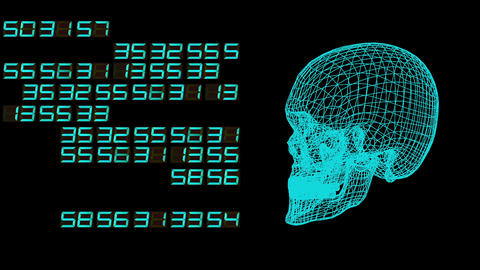 skull and digital numbers mesh spinning animation Footage