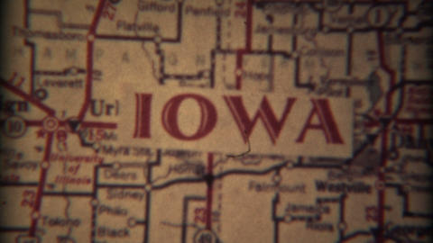 1937: Illinois, Iowa, South Dakota Map Fade Out Effect For Home Video Intro stock footage