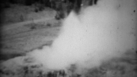 1937: Riverside Geyser White Steam Smoke Gas Blows Windy Vapors stock footage