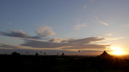 Timelapse Of Hot Air Balloons Over Temples At Sunrise,Bagan,Burma stock footage