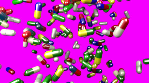 Pills Drugs Capsules Falling Slow Motion Closeup DOF 4K stock footage