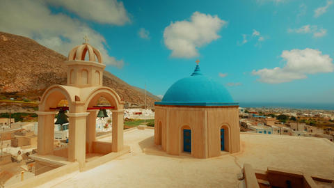 Panoramic Shot of Cycladic Blue Dome Churches Footage