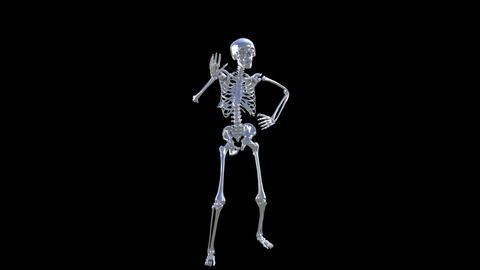 Skeleton Disco Dancing . Chrome - Heaven Blue + Alpha CGI stock footage