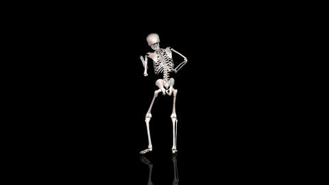 Skeleton Disco Dancing - White- Reflecting Ground - CGI stock footage