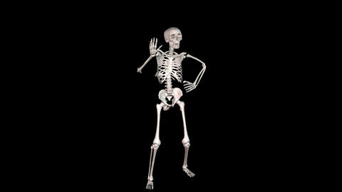Skeleton Disco Dancing - White + Alpha CGI stock footage