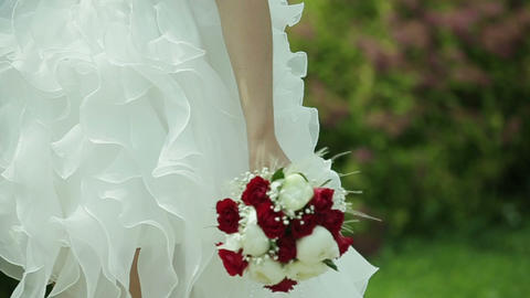 Bridal Bouquet N The Hands Of The Bride stock footage