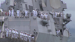 Manning The Rails As USS Chung Hoon Departs Joint Base Pearl Harbor-Hickam stock footage