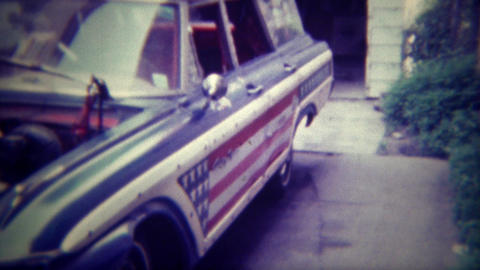 1971: Car customized with American flag paneling and wild interior decor. DES MO Footage