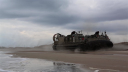 U.S. Navy Landing Craft, Air Cushion Landing At Onslow Beach stock footage