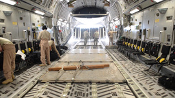 C-17 Globemasters Airlift Rwandan Soldiers To The Central African Republic stock footage