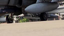 Marine FA-18Ds Hornet Taxis To The Runway, Ground View stock footage