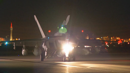 EA-18G Growler Unfolds Its Wings As It Taxis To The Runway stock footage