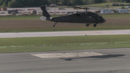 Blackhawk Helicopters taking off and landing from medical evacuation missions Footage