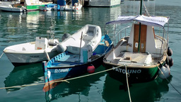 Spain Gran Canary Mogán 020 Three Small Boats Berthed In Harbor stock footage