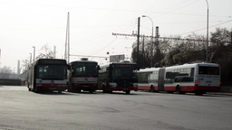 PRAGUE, CZECH REPUBLIC - MARCH 2014: Buses Stop At The Bus Station stock footage