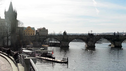 PRAGUE, CZECH REPUBLIC - MARCH 2014: Charles Bridge with Vltava river and birds Footage