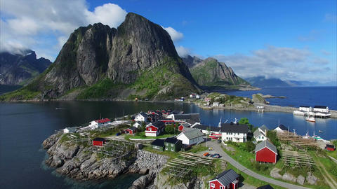 Picturesque Fishing Port Hamnoya In Norway stock footage