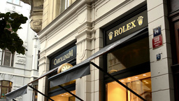 Luxury Store (exterior) With People - Rolex. Parisian Street In Prague stock footage