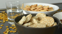 Carbohydrates (health Food) With Drink - Corn Flakes stock footage