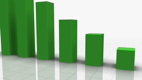 Falling Bar Graph In GREEN stock footage
