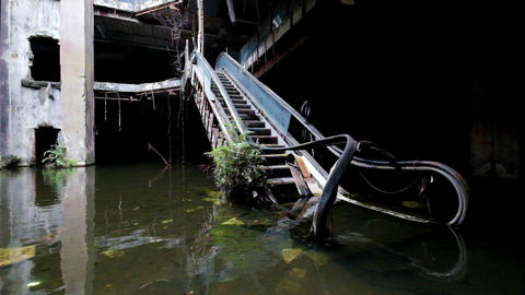 Dramatic Video Of Damaged Escalators In Abandoned Shopping Mall stock footage