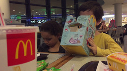 Kids Happy Meal At Mcdonalnds stock footage