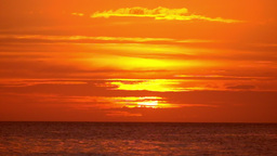 Amazing Orange Colors Of Tropical Sunset. Ocean Horizon At Boracay, Philippines stock footage