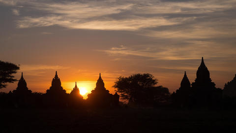 Sunset Over Ancient Buddhist Temples. Bagan, Myanmar stock footage