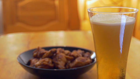 Roasted Chicken Wings And Beer stock footage