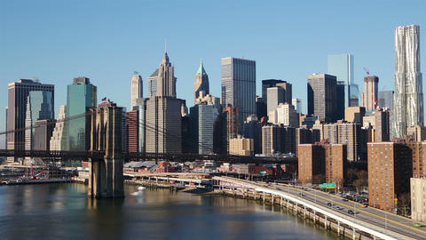 Sunny Cloudless Morning Over Manhattan stock footage
