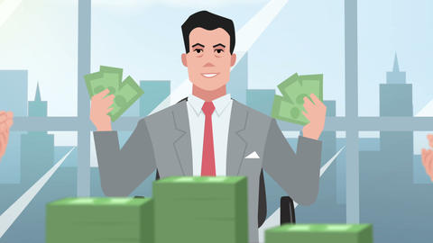 Cartoon Corporate / Happy Businessman Throwing Money stock footage
