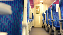 Train - Interior - Seats - First Class - Door In The Background stock footage