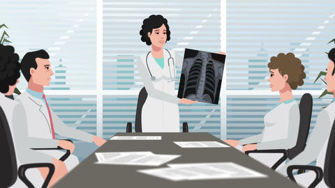 Cartoon Clinic / Woman Shows Chest X-ray stock footage