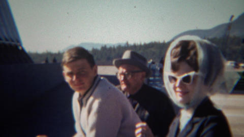 1966: Family Visits Famous Academy Building Shaped Like Airplane Wings stock footage