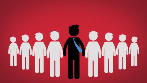 The concept of the Leader of a group, Pictogram over Red background (CEO) Animation