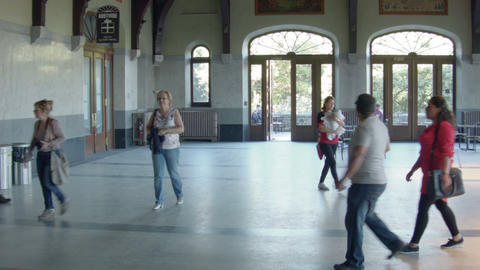 People Walking Inside Old Building In Montreal stock footage