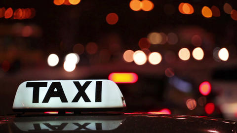 Taxi (Cab) With Motion Blur And City Lights stock footage