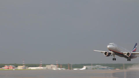 Airplane Is Landing On The Airport stock footage
