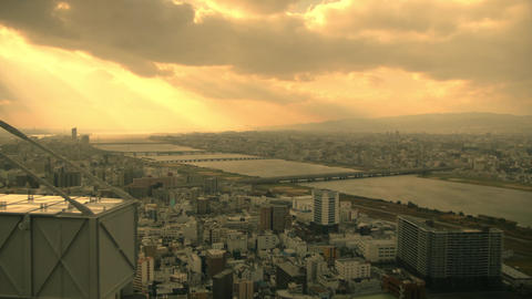 Sunlight over Central Business district in Japan Footage