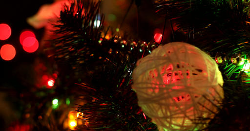 Christmas Tree With Colorful Bokeh And Christmas Lights Out Of Focus stock footage
